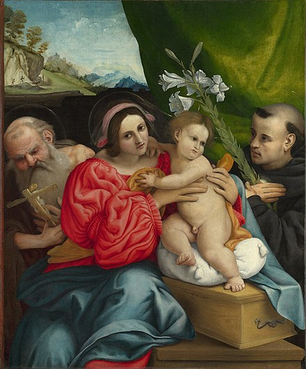 The Virgin and Child with Saints Jerome and Nicholas of Tolentino by Lorenzo Lotto Lorenzo Lotto - The Virgin and Child with Saints Jerome and Nicholas of Tolentino - Google Art Project.jpg