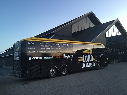 Team bus of LottoNL Jumbo during 2017 UCI Road World Championships in Bergen Lotto Jumbo bus at Panorama Hotell Resort.jpg