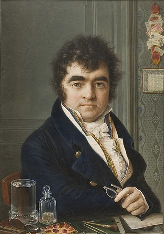 1817 in art - Miniature self-portrait by Autissier. In the foreground, the artist's pencils, brushes, and tools for painting miniatures can be seen. Watercolour on ivory, 19.1 × 13.5 cm (7.52 × 5.31 in), Nationalmuseum, Stockholm