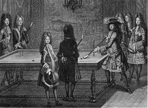 Carom billiards - Louis XIV playing billiards (1694)