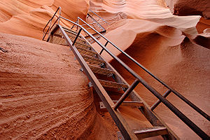 Antelope Canyon - Stairs leading out of Lower Antelope Canyon