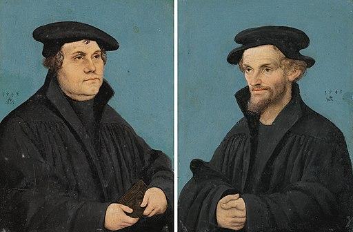 Lucas Cranach d.Ä. (Werkst.) - Martin Luther und Philipp Melanchthon (1543)