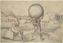 Hercules holds the globe while atlas takes a break