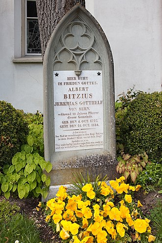 Lützelflüh - Albert Bitzius or Jeremias Gotthelf's grave in Lützelflüh