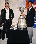 Lui Passaglia and Damon Allen with the Grey Cup in January 2001