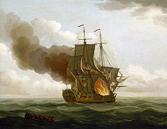 Luxborough Galley - Image: Luxborough Galley on fire, 25 June 1727