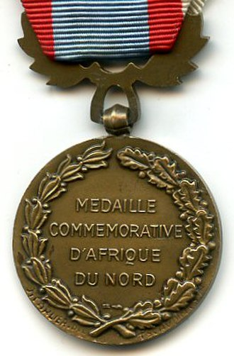 North Africa Security and Order Operations Commemorative Medal - Reverse of the pre January 1958 variant