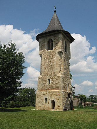 Botoșani - The bell tower of Monastery Popăuți, built in the 15th century by Stephen the Great