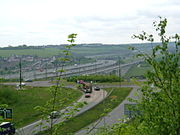 The M2 motorway and Channel Tunnel Rail Link crossing the Medway, as viewed from Ranscombe Farm, Cuxton. Borstal can be seen on the far bank.