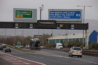 M3 motorway (Northern Ireland) - The M3 from the Sydenham Bypass, 2007
