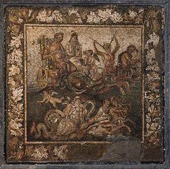 Poseidon and Amphitrite on the wedding chariot