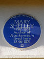 MARY SHELLEY 1797-1851 Author of Frankenstein lived here 1846-1851.JPG