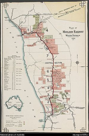 Midland Railway of Western Australia - Map of the Midland line