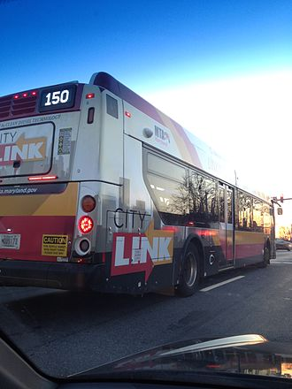 Route 150 (MTA Maryland) - Bus on MTA Route 150 on Route 40 in Ellicott City, MD with the new BaltimoreLink livery.