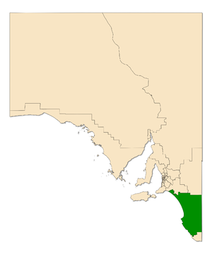 Electoral district of MacKillop - Electoral district of MacKillop (green) in South Australia