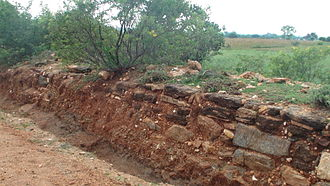 Madukkarai Wall - Section of the wall in disrepair after local quarrying for sand