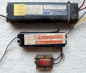 Electrical ballast - Several typical magnetic ballasts for fluorescent lamps. The top is a high-power factor rapid start series ballast for two 30–40 W lamps. The middle is a low power factor preheat ballast for a single 30–40 W lamp while the bottom ballast is a simple inductor used with a 15 W preheat lamp.