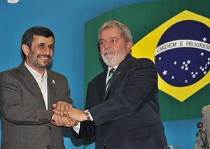 Ahmadinejad with president of Brazil Luiz Inác...