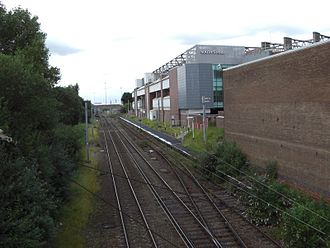 Manchester United Football Ground railway station - The station, next to Old Trafford football stadium