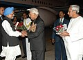 Manmohan Singh being received by The Governor of Odisha, Shri M.C. Bhandare on his arrival at Bhubaneswar, in Odisha on January 02, 2012. The Chief Minister of Odisha, Shri Naveen Patnaik is also seen.jpg