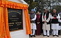 Manmohan Singh unveiling the foundation stone of National Institute of Technology, at Kangla Fort, in Imphal, Manipur on December 03, 2011. The Chairperson, National Advisory Council, Smt. Sonia Gandhi is also seen.jpg