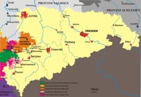 Karte des Königreichs Sachsen 1815–1918