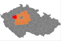 Poloha okresu Rakovník v rámci kraje a ČR