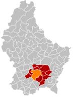 Lage von Stadt Luxemburg im Großherzogtum Luxemburg