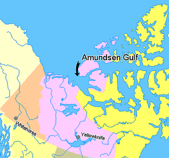 Amundsen Gulf - Image: Map indicating Amundsen Gulf, Northwest Territories, Canada