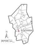 Map of Catawissa, Columbia County, Pennsylvania Highlighted.png