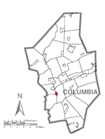 Map showing Catawissa in Columbia County