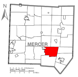 Location of Findley Township in Mercer County