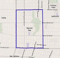 Map of Hancock Park, Los Angeles, as delineated by the Los Angeles Times