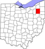 Kart over Ohio med Portage County uthevet