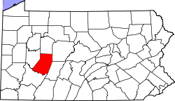 Map of Pennsylvania highlighting Indiana County.svg