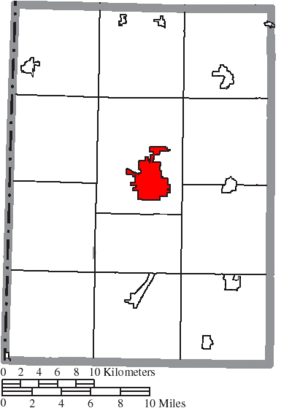 Eaton, Ohio - Image: Map of Preble County Ohio Highlighting Eaton City