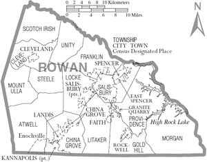 Rowan County, North Carolina - Map of Rowan County, North Carolina With Municipal and Township Labels