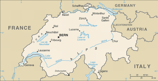 file map of switzerland  political and international  cia