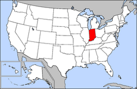 Map of the United States with รัฐอินดีแอนา highlighted