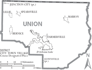 Union Parish, Louisiana - Map of Union Parish, Louisiana With Municipal Labels