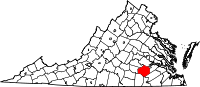 Locatie van Dinwiddie County in Virginia