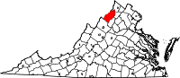 Map of Virginia highlighting Shenandoah County