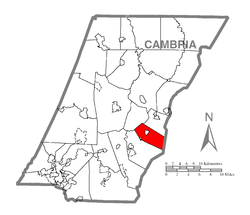 Map of Cambria County, Pennsylvania highlighting Washington Township