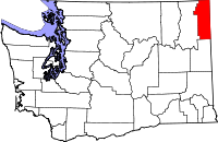 Locatie van Pend Oreille County in Washington