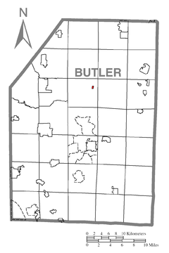 Map of West Sunbury, Butler County, Pennsylvania Highlighted.png