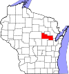 State map highlighting Shawano County