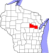 Map of Wisconsin highlighting Shawano County