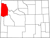 Map of Wyoming highlighting Teton County