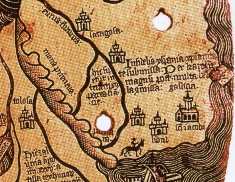 """Detalle do noroeste da península ibérica no mapa de Borgia onde se aprecia o nome de Galiicia a carón da """"infiel"""" Yspania. Século XV."""