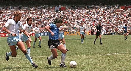 Maradona right before scoring the